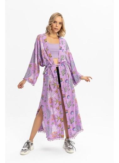 Tiffany&Tomato Akvaryum Desenli Püsküllü Uzun Kimono Lila